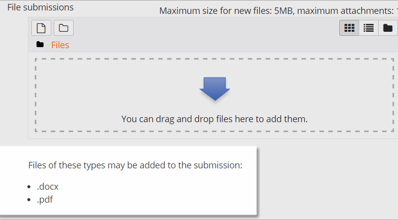 Moodle Student file type restrictions
