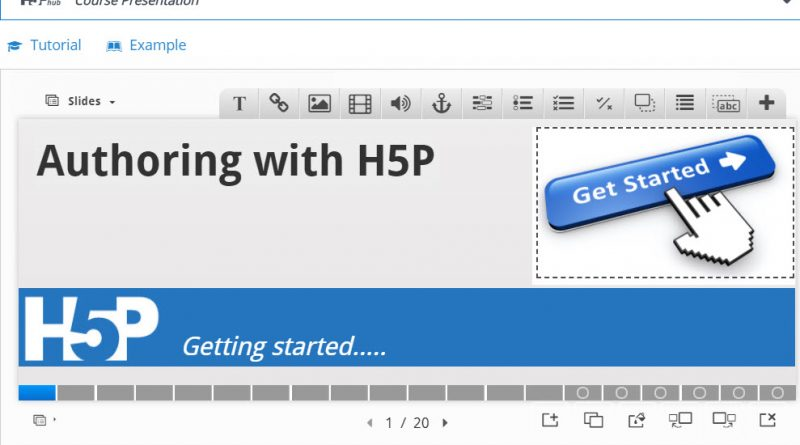 Screen capture of the H5P Course Presenter