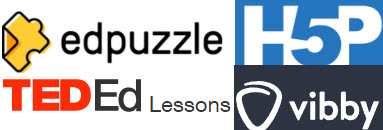 logos for Vibby, TED ed Lessons, EdPuzzle and H5P